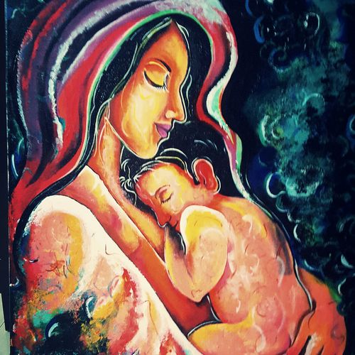 motherlove, 12 x 12 inch, sampada patel,paintings,love paintings,paintings for bedroom,canvas,acrylic color,12x12inch,GAL0712315932heart,family,caring,happiness,forever,happy,trust,passion,romance,sweet,kiss,love,hugs,warm,fun,kisses,joy,friendship,marriage,chocolate,husband,wife,forever,caring,couple,sweetheart