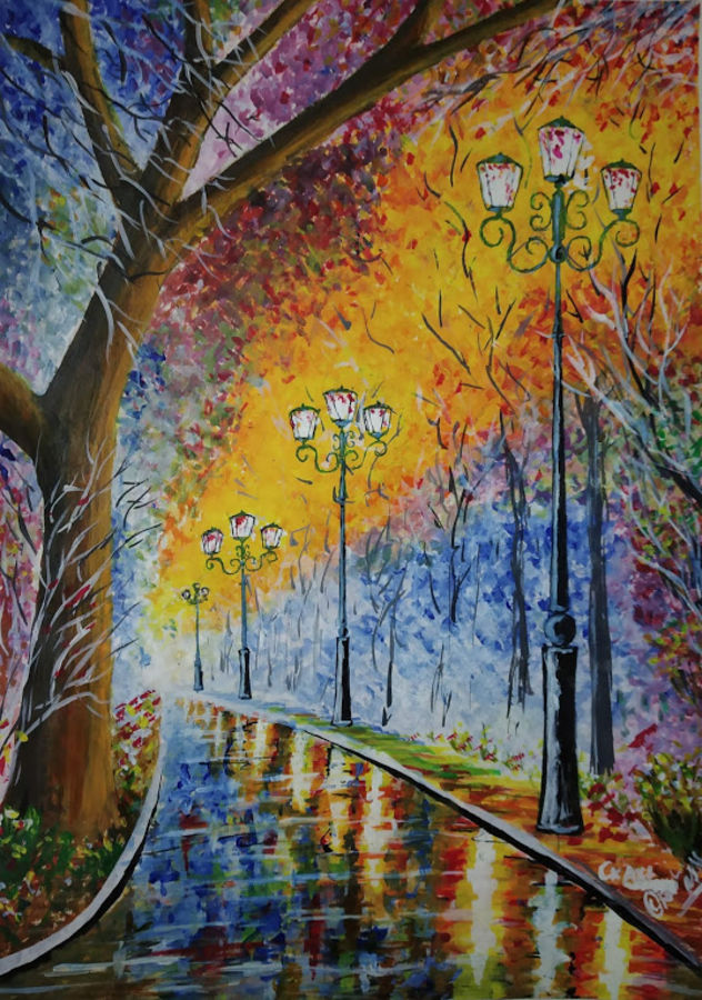 evening beauty, 11 x 15 inch, chandrakesh  singh,paintings,landscape paintings,nature paintings,illustration paintings,street art,realistic paintings,paintings for dining room,paintings for living room,paintings for bedroom,paintings for office,paintings for bathroom,paintings for hotel,paintings for kitchen,paintings for school,paintings for hospital,paper,acrylic color,11x15inch,GAL0705615933Nature,environment,Beauty,scenery,greenery,tree
