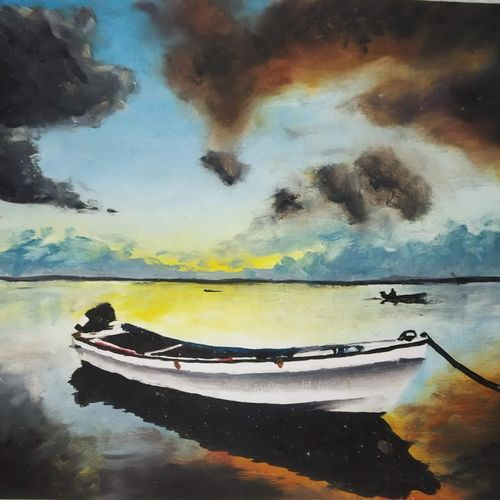 sunset beauty , 15 x 11 inch, chandrakesh  singh,paintings,cityscape paintings,landscape paintings,nature paintings,realistic paintings,paintings for dining room,paintings for living room,paintings for bedroom,paintings for office,paintings for hotel,paintings for kitchen,paintings for school,paper,oil,15x11inch,GAL0705615934Nature,environment,Beauty,scenery,greenery