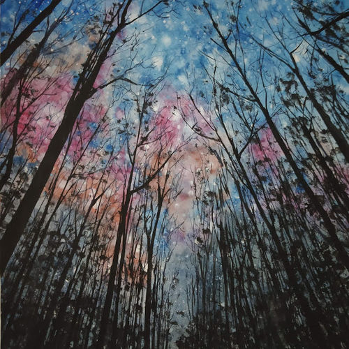 starry night at dark forest, 11 x 15 inch, chandrakesh  singh,paintings,landscape paintings,nature paintings,illustration paintings,realism paintings,paintings for dining room,paintings for living room,paintings for bedroom,paintings for office,paintings for kids room,paintings for hotel,paintings for kitchen,paintings for school,paintings for hospital,paper,poster color,watercolor,11x15inch,GAL0705615935Nature,environment,Beauty,scenery,greenery,tree,forest