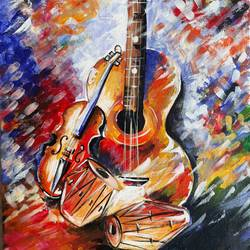 musical instruments, 12 x 16 inch, viral gor,art deco paintings,paintings for office,canvas,acrylic color,12x16inch,GAL06521595