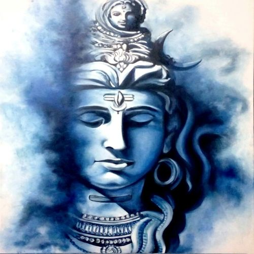 eternal shiva, 18 x 24 inch, archna  singh,paintings for living room,paintings for office,paintings for hotel,paintings for living room,paintings for office,paintings for hotel,lord shiva paintings,canvas,oil,18x24inch,GAL0271115951