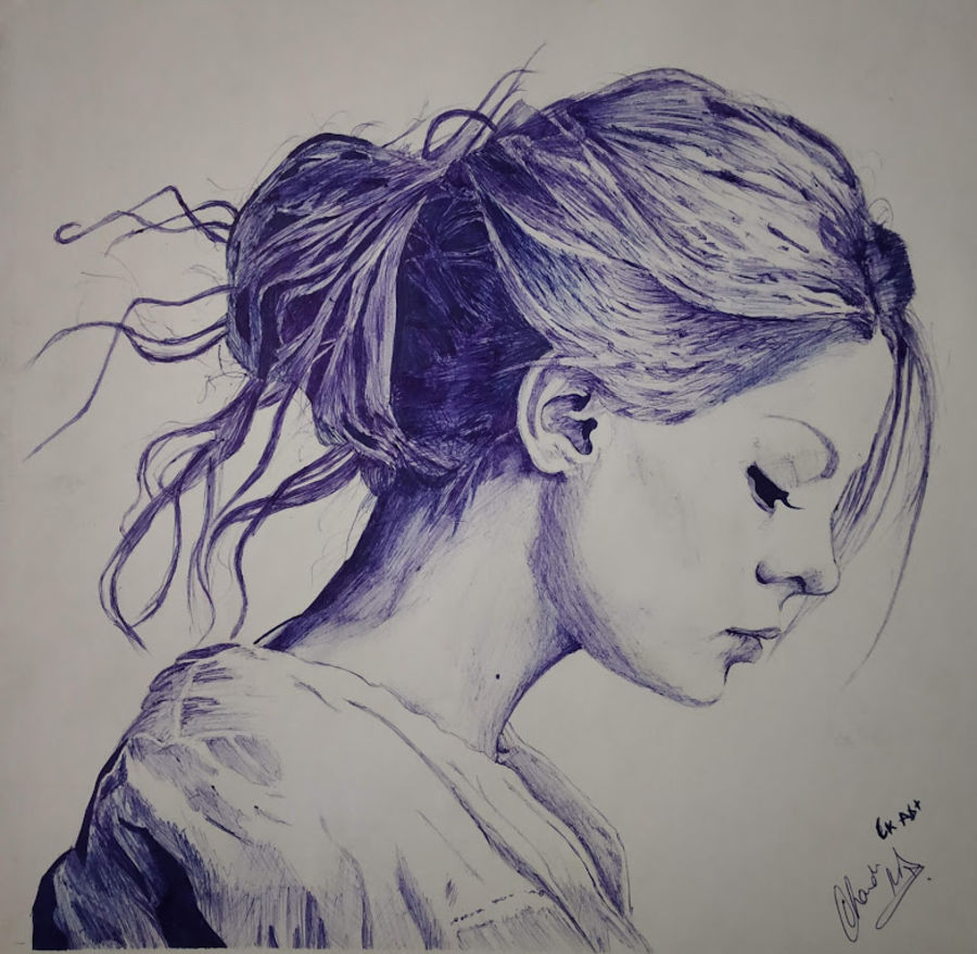 sad beauty, 11 x 11 inch, chandrakesh  singh,drawings,figurative drawings,illustration drawings,portrait drawings,realism drawings,paintings for dining room,paintings for living room,paintings for bedroom,paintings for office,paintings for bathroom,paintings for kids room,paintings for hotel,paintings for kitchen,paintings for school,paintings for hospital,paper,ball point pen,11x11inch,GAL0705615953