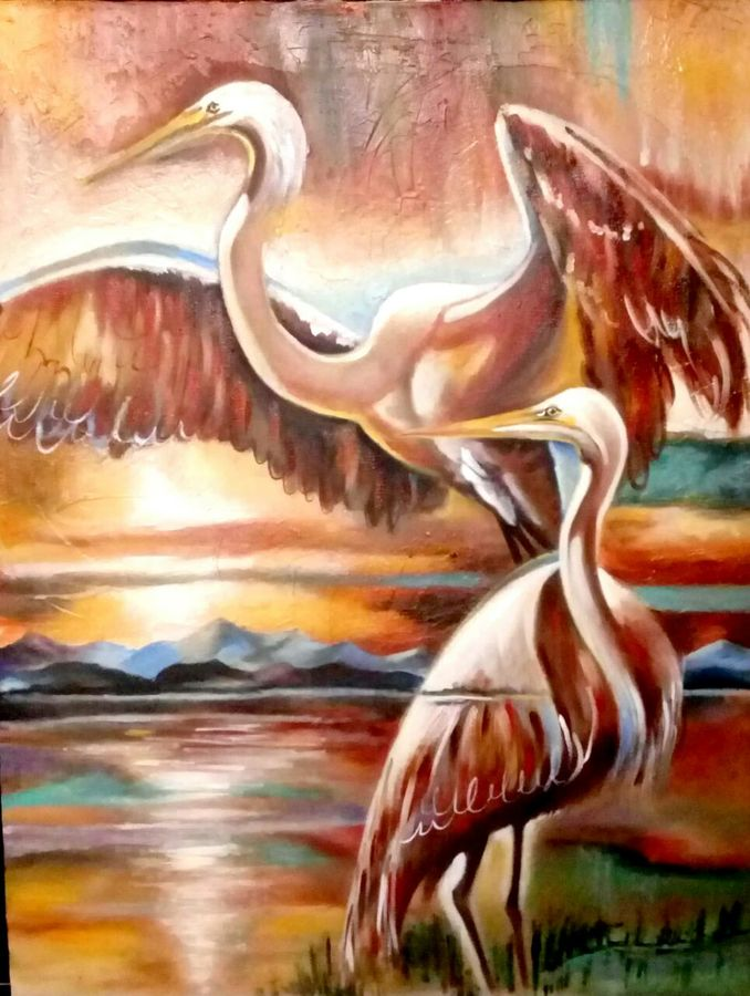 birds abstract, 18 x 24 inch, archna  singh,paintings,abstract paintings,paintings for dining room,paintings for living room,paintings for bedroom,paintings for office,paintings for kids room,paintings for hotel,paintings for hospital,canvas,oil,18x24inch,GAL0271115957