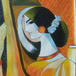 meerabai, 15 x 22 inch, reshmi ghosh,paintings,portrait paintings,paintings for dining room,paintings for living room,paintings for bedroom,paintings for hotel,paintings for school,thick paper,acrylic color,15x22inch,GAL0714015980