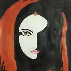 dual shades of woman, 15 x 22 inch, reshmi ghosh,paintings,abstract paintings,paintings for dining room,paintings for living room,paintings for bedroom,paintings for hotel,thick paper,acrylic color,15x22inch,GAL0714015981