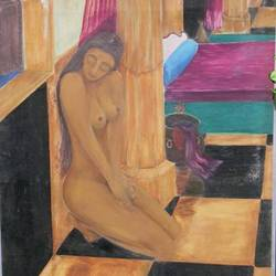 nude in waiting, 35 x 58 inch, ravi bedi,paintings,figurative paintings,canvas,oil,35x58inch,GAL0715715990