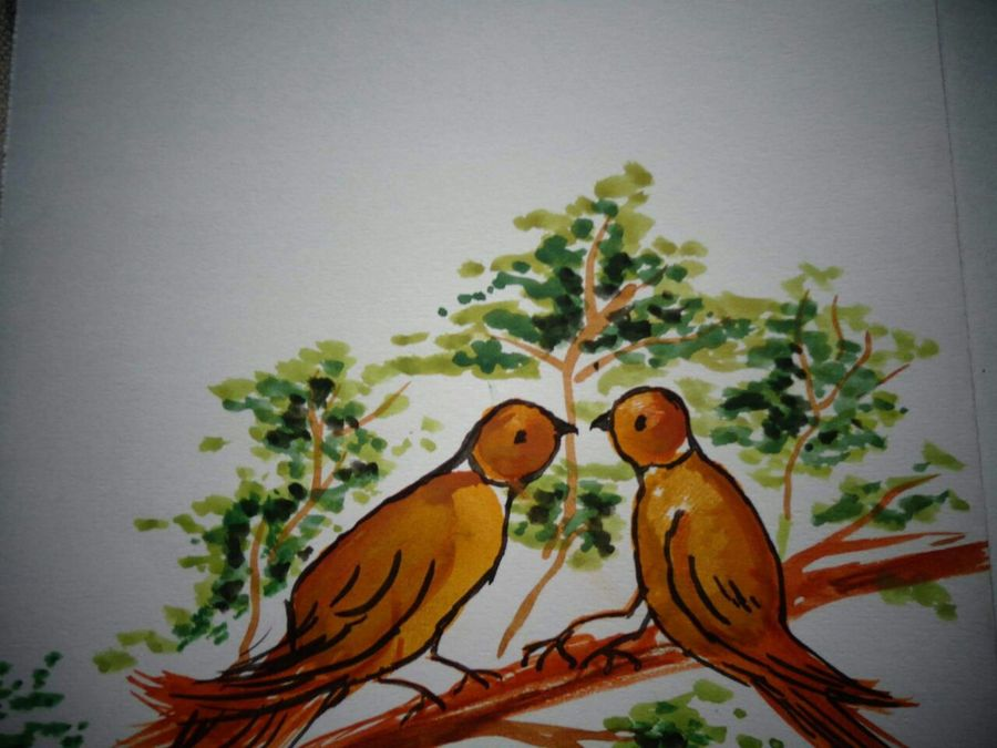 birds , 5 x 7 inch, chaitra k.r,paintings,wildlife paintings,paintings for dining room,paintings for living room,paintings for bedroom,paintings for office,paintings for bathroom,paintings for kids room,paintings for hotel,paintings for kitchen,paintings for school,paintings for hospital,drawing paper,watercolor,ball point pen,5x7inch,GAL0707815993