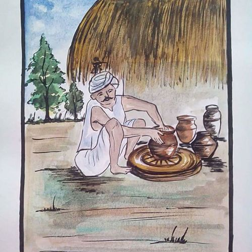 , 6 x 8 inch, chaitra k.r,paintings,folk art paintings,paintings for bedroom,paintings for office,paintings for bathroom,paintings for kids room,paintings for hotel,paintings for school,paintings for hospital,drawing paper,watercolor,ball point pen,6x8inch,GAL0707815994
