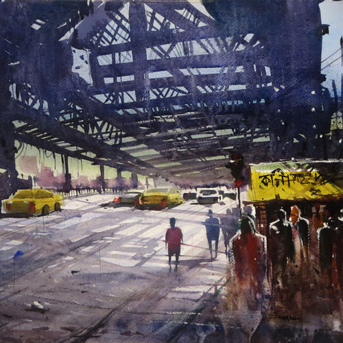 symbol of kolkata and west bengal, 14 x 22 inch, sankar thakur,conceptual paintings,paintings for living room,paintings for office,fabriano sheet,watercolor,14x22inch,GAL0716