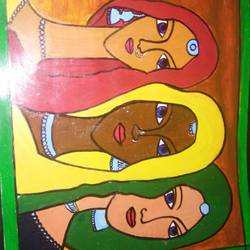 villager ladies, 11 x 14 inch, manjot sokhey,paintings,abstract paintings,paintings for dining room,paintings for living room,paintings for dining room,paintings for living room,thick paper,acrylic color,11x14inch,GAL0716616003