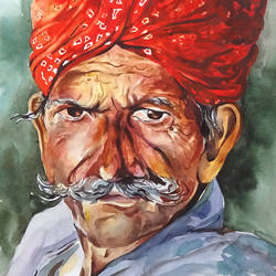 the farmer, 16 x 12 inch, sumit  datta,paintings,portrait paintings,thick paper,watercolor,16x12inch,GAL0253016009