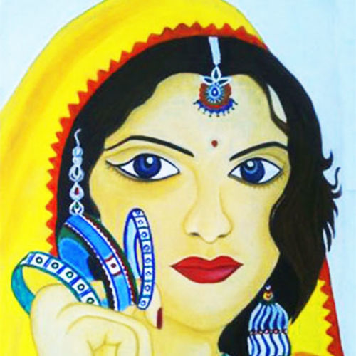 lady with bangles, 12 x 17 inch, sahya sajith,paintings,figurative paintings,paintings for living room,thick paper,oil,12x17inch,GAL0698016013