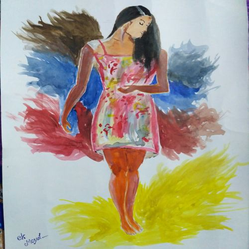 woman in colored dress, 24 x 18 inch, anoop moyal,paintings,art deco paintings,paintings for living room,paintings for bedroom,paintings for office,paintings for hotel,paintings for living room,paintings for bedroom,paintings for office,paintings for hotel,drawing paper,acrylic color,24x18inch,GAL0718116014