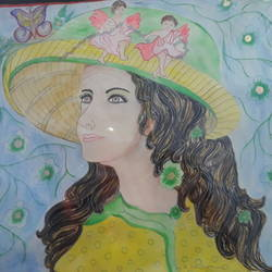 beautiful creation, 26 x 20 inch, kumari kanchan,figurative paintings,thick paper,watercolor,26x20inch,GAL0717416021