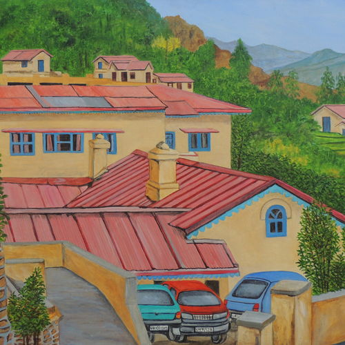 beautiful homes, 45 x 30 inch, ajay harit,paintings,landscape paintings,nature paintings,expressionist paintings,realism paintings,realistic paintings,paintings for dining room,paintings for living room,paintings for bedroom,paintings for office,paintings for hotel,paintings for school,paintings for hospital,paintings for dining room,paintings for living room,paintings for bedroom,paintings for office,paintings for hotel,paintings for school,paintings for hospital,canvas,oil,45x30inch,GAL0199816036Nature,environment,Beauty,scenery,greenery
