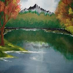 lake, mountain, trees, 12 x 15 inch, anubhav roy,paintings,landscape paintings,nature paintings,paintings for dining room,paintings for living room,paintings for bedroom,paintings for office,paintings for kitchen,paintings for dining room,paintings for living room,paintings for bedroom,paintings for office,paintings for kitchen,canvas,acrylic color,12x15inch,GAL0719816037Nature,environment,Beauty,scenery,greenery