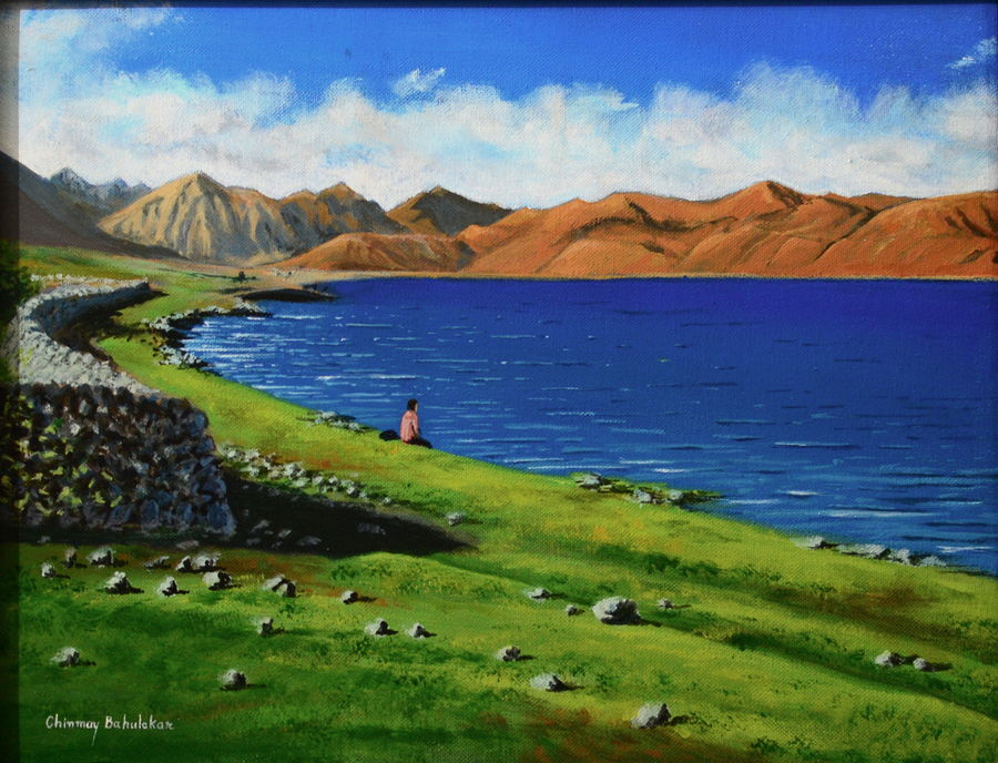 pangong lake, 16 x 12 inch, chinmay bahulekar,paintings,landscape paintings,nature paintings,realistic paintings,paintings for dining room,paintings for living room,paintings for bedroom,paintings for hotel,paintings for school,paintings for hospital,paintings for dining room,paintings for living room,paintings for bedroom,paintings for hotel,paintings for school,paintings for hospital,canvas,acrylic color,16x12inch,GAL0720416040Nature,environment,Beauty,scenery,greenery,mountain,water,river,lake,peace,man,mountains