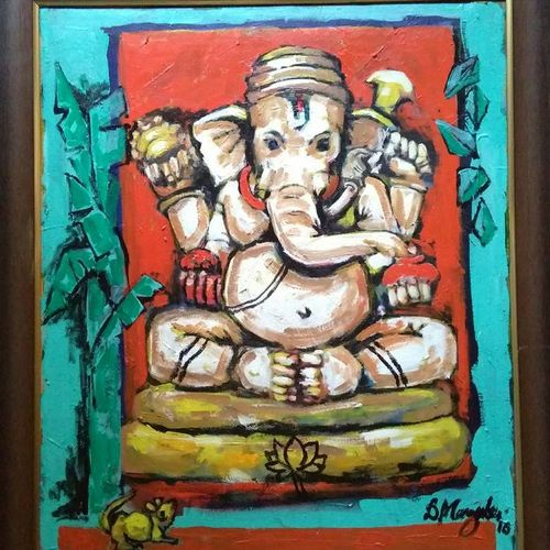 ganesha, 20 x 24 inch, debdas maumder,religious paintings,paintings for living room,canvas,acrylic color,20x24inch,GAL06551605