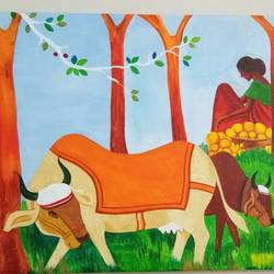 harvest break, 25 x 18 inch, pralhad thak,paintings for dining room,paintings for living room,paintings for hotel,paintings for dining room,paintings for living room,paintings for hotel,wildlife paintings,paintings for bedroom,canvas,acrylic color,25x18inch,GAL0538316050,bull,lady,trees,leaves