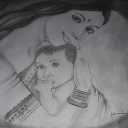 cute baby with mother, 28 x 22 inch, kumari kanchan,figurative drawings,thick paper,graphite pencil,28x22inch,GAL0717416054