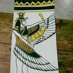 egyptian love, 17 x 30 inch, priya dharshini,paintings,religious paintings,fabriano sheet,acrylic color,17x30inch,GAL0721216055
