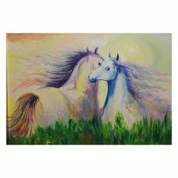horse, 20 x 14 inch, inga esartia,paintings,wildlife paintings,canvas,oil,watercolor,20x14inch,GAL0721316056