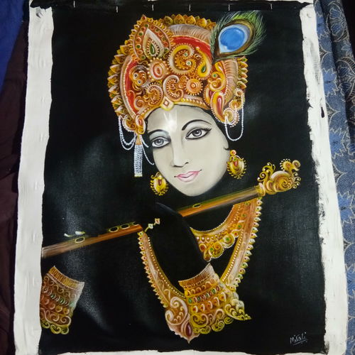 lord shri krishna's, 21 x 26 inch, aarti  sharma,paintings,portrait paintings,portraiture,radha krishna paintings,paintings for living room,paintings for living room,canvas,acrylic color,oil,21x26inch,GAL0721416057,krishna,love,pece,lordkrishna,,lord,peace,flute,music,krishna,devotion,couple