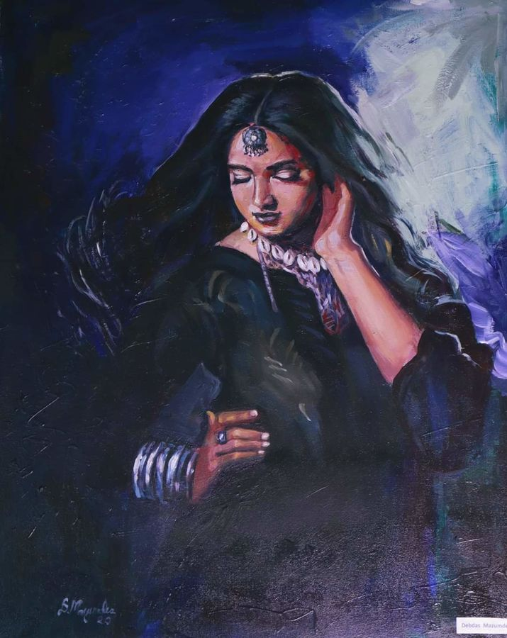 indian woman, 24 x 30 inch, debdas maumder,figurative paintings,paintings for dining room,canvas,acrylic color,24x30inch,GAL06551606