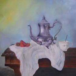 still life kettle and strawberries, 24 x 30 inch, sameera masoodi,paintings,still life paintings,realism paintings,realistic paintings,canvas,oil,24x30inch,GAL0721616060