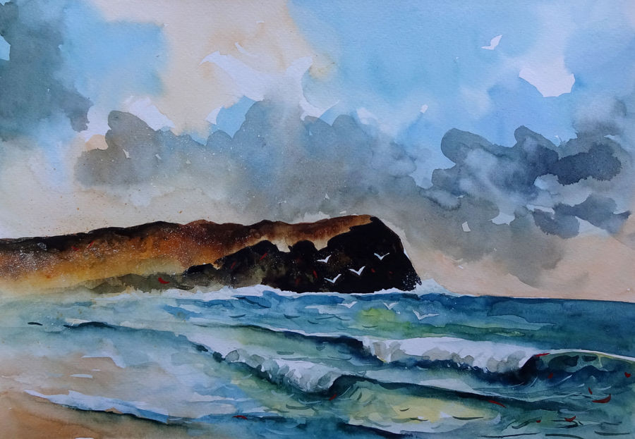 seascape 12, 2017, 11 x 9 inch, sumit  datta,paintings,landscape paintings,nature paintings,thick paper,watercolor,11x9inch,GAL0253016063Nature,environment,Beauty,scenery,greenery