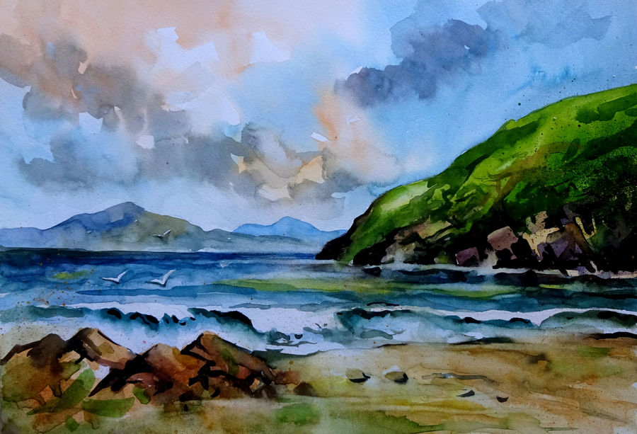 seascape 11, 2017, 11 x 9 inch, sumit  datta,paintings,landscape paintings,nature paintings,thick paper,watercolor,11x9inch,GAL0253016064Nature,environment,Beauty,scenery,greenery