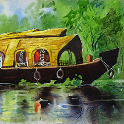 kerala house boat art 5, 10 x 8 inch, sumit  datta,paintings,landscape paintings,nature paintings,realism paintings,thick paper,watercolor,10x8inch,GAL0253016065Nature,environment,Beauty,scenery,greenery