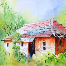 rural house 31, 11 x 9 inch, sumit  datta,paintings,nature paintings,thick paper,watercolor,11x9inch,GAL0253016066Nature,environment,Beauty,scenery,greenery