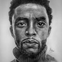 chadwick boseman , 8 x 12 inch, karan rawat,drawings,fine art drawings,portrait drawings,thick paper,charcoal,8x12inch,GAL0722016069