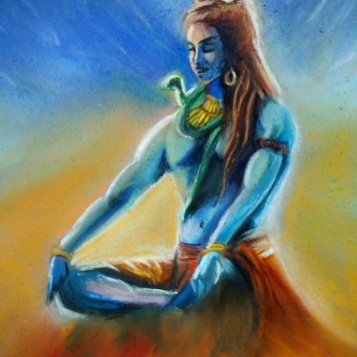 shivaa, 8 x 12 inch, karan rawat,paintings for living room,conceptual drawings,illustration drawings,paintings for living room,lord shiva paintings,hardboard,pastel color,8x12inch,GAL0722016071