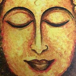 canvas buddha framed, 15 x 22 inch, neeraja kharidehal,buddha paintings,paintings for living room,paintings for living room,paintings for hotel,canvas,acrylic color,15x22inch,religious,peace,meditation,meditating,gautam,goutam,buddha,lord,face,brown,smiling,GAL0722516074