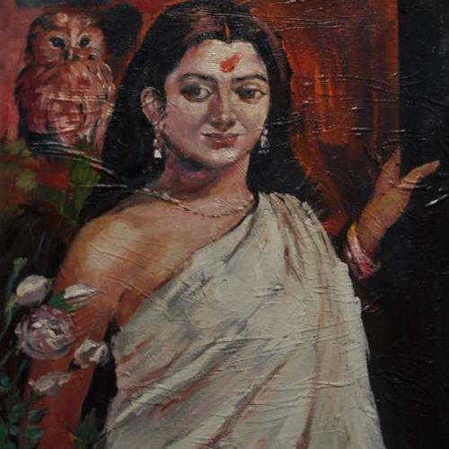 indian woman 2, 20 x 24 inch, debdas maumder,figurative paintings,paintings for living room,canvas,oil paint,20x24inch,GAL06551608