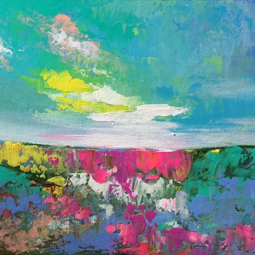 turquoise dreams !! abstract, 12 x 8 inch, amita dand,paintings,abstract paintings,surrealist paintings,paintings for dining room,paintings for living room,paintings for office,paintings for bathroom,paintings for hotel,paintings for hospital,canvas,acrylic color,12x8inch,GAL0146716085