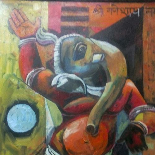 ganesha  2, 24 x 36 inch, debdas maumder,religious paintings,canvas,acrylic color,24x36inch,GAL06551609