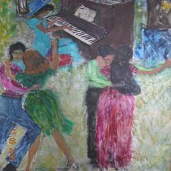 dancing couples, 34 x 58 inch, ravi bedi,paintings,figurative paintings,paintings for dining room,paintings for living room,paintings for bedroom,paintings for hotel,canvas,oil,34x58inch,GAL0715716090