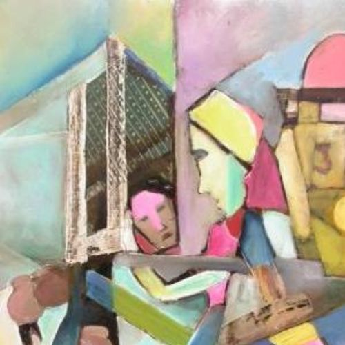 mother and child, 22 x 28 inch, ravi bedi,paintings,figurative paintings,modern art paintings,paintings for dining room,paintings for living room,paintings for bedroom,paintings for office,paintings for bathroom,paintings for hotel,paintings for school,paintings for hospital,thick paper,oil,22x28inch,GAL0715716097