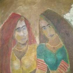 traditional women, 34 x 26 inch, ravi bedi,figurative paintings,paintings for dining room,paintings for living room,paintings for bedroom,paintings for office,paintings for hotel,paintings for school,canvas,oil,34x26inch,GAL0715716103