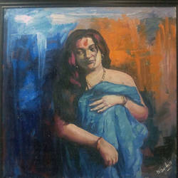 indian woman 3, 36 x 36 inch, debdas maumder,figurative paintings,paintings for dining room,canvas,oil,36x36inch,GAL06551611