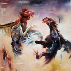 fight, 48 x 36 inch, raviraj kumbhar,figurative paintings,photorealism,animal paintings,contemporary paintings,paintings for dining room,paintings for living room,paintings for bedroom,paintings for office,canvas,oil,48x36inch,GAL0703916116