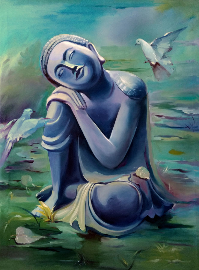 budha, 36 x 48 inch, raviraj kumbhar,buddha paintings,religious paintings,paintings for bathroom,paintings for kids room,paintings for hotel,paintings for kitchen,canvas,oil,36x48inch,peace,meditation,meditating,gautam,goutam,birds,thinking,green,religious,GAL0703916118,peace,lordbuddha,inner,lordface,gautaum,pigeon