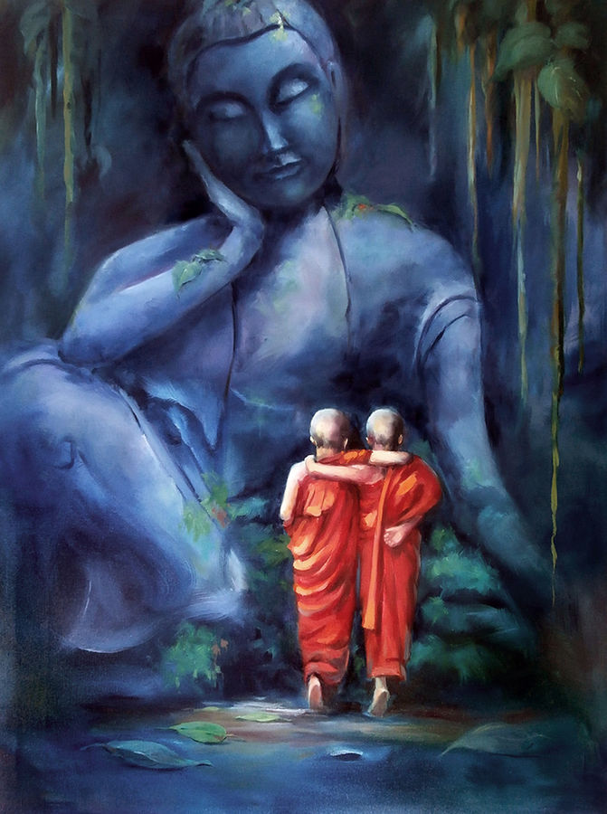 budha, 36 x 48 inch, raviraj kumbhar,paintings,buddha paintings,figurative paintings,religious paintings,realism paintings,contemporary paintings,realistic paintings,canvas,oil,36x48inch,peace,meditation,meditating,gautam,goutam,monks,thinking,blue,GAL0703916119,peace,lordbuddha,inner,lordface,gautaum,people