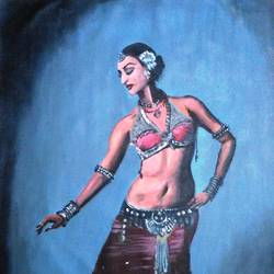 dancer, 19 x 29 inch, mahesh bommanalli,figurative paintings,paintings for office,canvas,acrylic color,19x29inch,GAL03641612