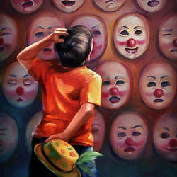 mask, 36 x 48 inch, raviraj kumbhar,paintings,figurative paintings,realistic paintings,canvas,oil,36x48inch,kids,school,joker,smiley,GAL0703916120