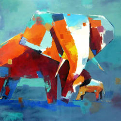 elephant, 48 x 36 inch, raviraj kumbhar,paintings,abstract paintings,elephant paintings,canvas,acrylic color,48x36inch,GAL0703916121